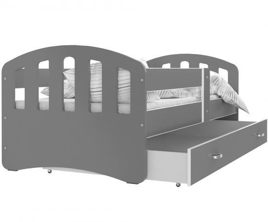 Dětská postel HAPPY 160x80 ŠEDÁ-ŠEDÁ