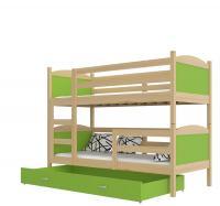 Dětská dřevěná patrová postel Matyas 190x80