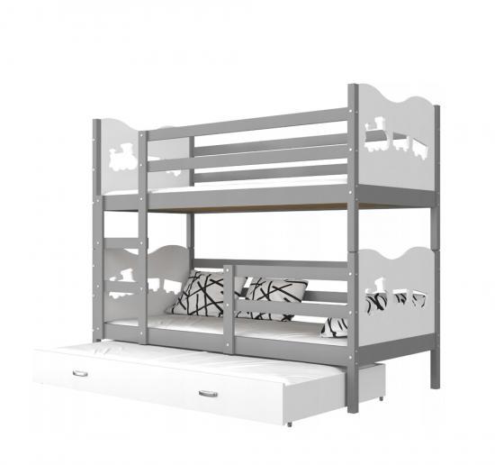 Dřevěná patrová postel MATYAS 3 200x90