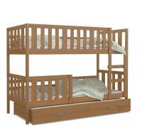 Dětská dřevěná patrová postel s přistýlkou NEMO 190x80