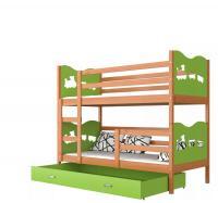 Dětská dřevěná patrová postel MAX 190x80