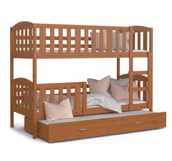 Dřevěná patrová postel s přistýlkou KUBU 3 184x80