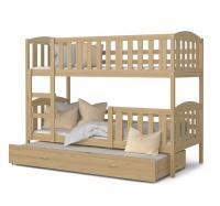 Dřevěná patrová postel KUBU 3 200x90