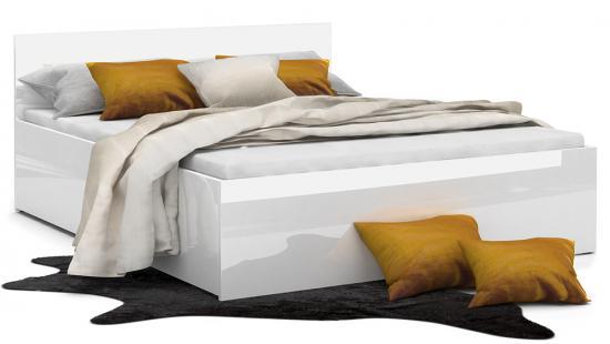 Manželská lesklá postel PANAMA GLOSS 90x200 BÍLÁ