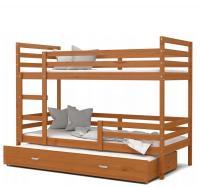 Dětská patrová postel s přistýlkou JACEK 3 dřevěný 90x200