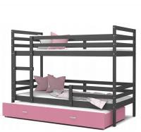 Dětská patrová postel s přistýlkou JACEK 3 barevný 80x190