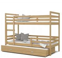 Dětská patrová postel s přistýlkou JACEK 3 dřevěný 80x190