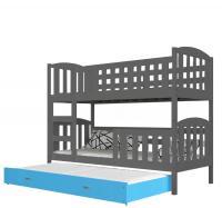 Barevná patrová postel KUBU 3 190x80 VÝPRODEJ šedá-modrá
