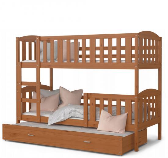 Dřevěná patrová postel s přistýlkou KUBU 3 184x80 VÝPRODEJ olše
