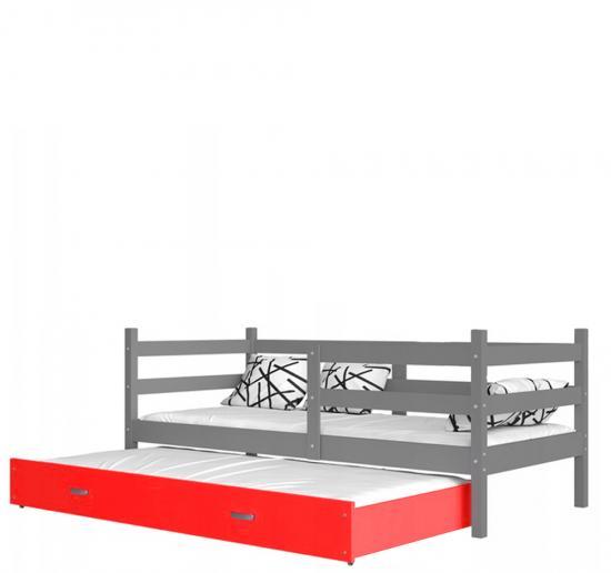 Dětská postel s přistýlkou JACEK P2 barevný 80x190 VÝPRODEJ šedá-červená