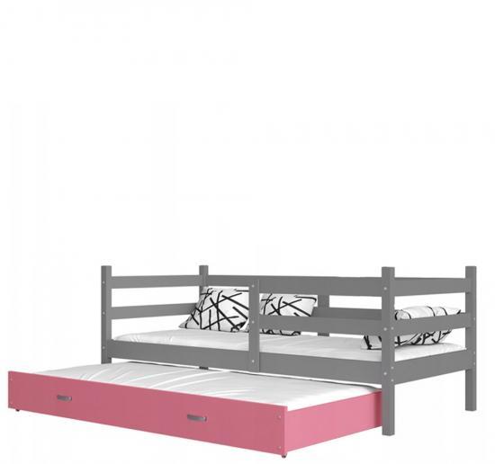 Dětská postel s přistýlkou JACEK P2 barevný 80x190 VÝPRODEJ šedá-růžová