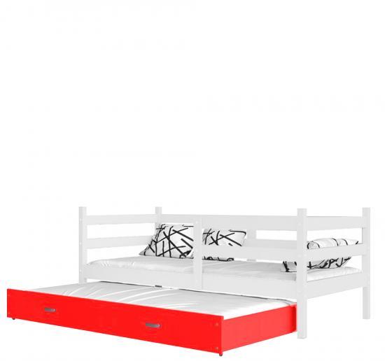 Dětská postel s přistýlkou JACEK P2 barevný 80x190 VÝPRODEJ bílá-červená