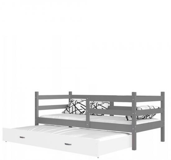 Dětská postel s přistýlkou JACEK P2 barevný 80x190 VÝPRODEJ šedá-bílá