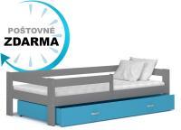 Dětská postel HUGO 180x80 s barevnou zásuvkou
