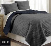 Oboustranný prošivaný přehoz na postel 200x220 cm šedá grafitová