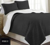 Oboustranný prošivaný přehoz na postel 200x220 cm černá bílá