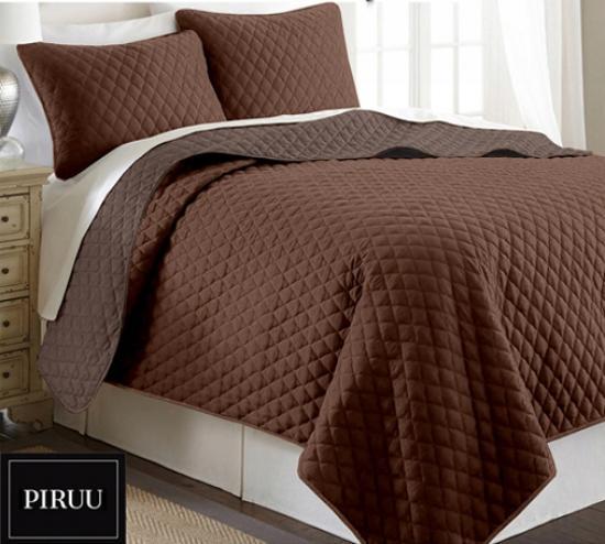 Oboustranný prošivaný přehoz na postel 200x220 cm hnědá kremová