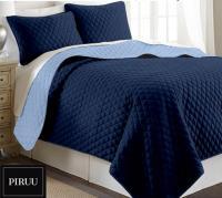 Oboustranný prošivaný přehoz na postel 200x220 cm modrá granátová