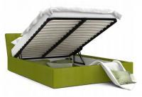Luxusní manželská postel VEGAS zelená 140x200 semiš s kovovým roštem