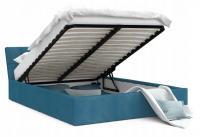 Luxusní manželská postel VEGAS tyrkysová 160x200 semiš s kovovým roštem
