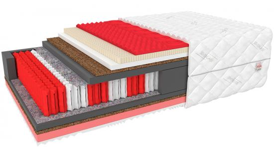 Exklusivní taštičková matrace CALYPSO 32 cm s kokosem, latexem a Visco pěnou 510 pružin/m2