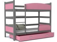 Dětská patrová postel se zábranou TWIST 190x90 šedá růžová Výprodej