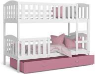 Dětská patrová postel KUBU 200x90 cm bílá růžová Výprodej