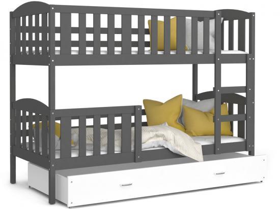 Dětská patrová postel KUBU 190x80 cm šedá bílá Výprodej