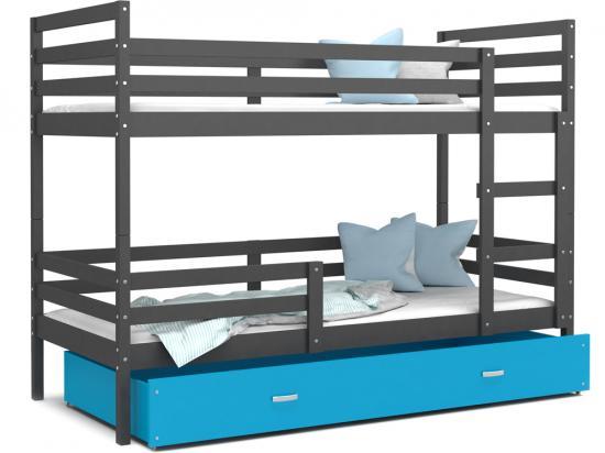 Dětská patrová postel JACEK 80x190 šedá modrá Výprodej