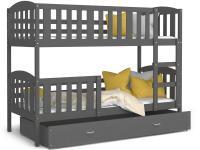 Dětská patrová postel KUBU 190x80 cm šedá Výprodej