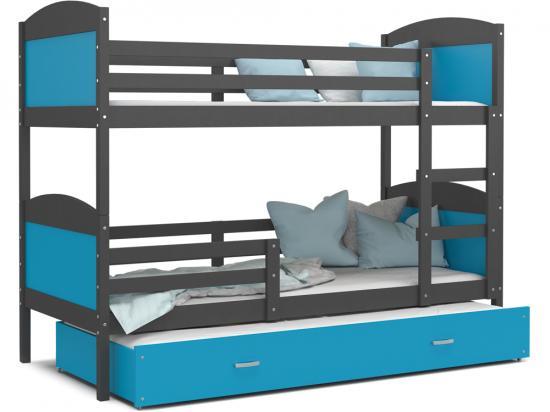Dětská patrová postel MATYAS 3 190x80 šedá modrá Výprodej