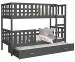 Dětská patrová postel NEMO 3 190x80 cm ŠEDÁ