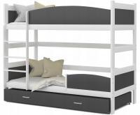 Patrová postel TWIST BÍLÁ / ŠEDÁ