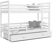 Dětská patrová postel JACEK 160x80 cm BÍLÁ-BÍLÁ