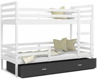 Dětská patrová postel JACEK 190x80 cm BÍLÁ-ŠEDÁ