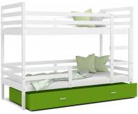 Dětská patrová postel JACEK 190x80 cm BÍLÁ-ZELENÁ