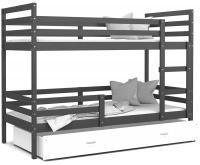 Dětská patrová postel JACEK 190x80 cm ŠEDÁ-BÍLÁ