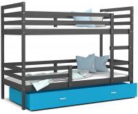 Dětská patrová postel JACEK 190x80 cm ŠEDÁ-MODRÁ