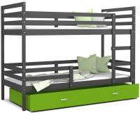 Dětská patrová postel JACEK 190x80 cm ŠEDÁ-ZELENÁ