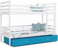 Dětská patrová postel JACEK 200x90 cm BÍLÁ-MODRÁ
