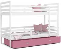Dětská patrová postel JACEK 200x90 cm BÍLÁ-RŮŽOVÁ