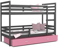 Dětská patrová postel JACEK 200x90 cm ŠEDÁ-RŮŽOVÁ