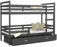 Dětská patrová postel JACEK 200x90 cm ŠEDÁ-ŠEDÁ