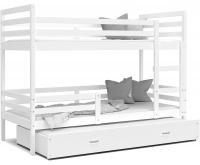 Dětská patrová postel s přistýlkou JACEK 3 190x80 cm BÍLÁ-BÍLÁ