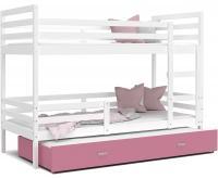 Dětská patrová postel s přistýlkou JACEK 3 190x80 cm BÍLÁ-RŮŽOVÁ