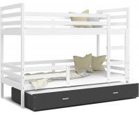 Dětská patrová postel s přistýlkou JACEK 3 190x80 cm BÍLÁ-ŠEDÁ