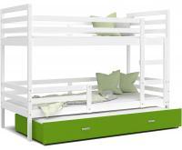 Dětská patrová postel s přistýlkou JACEK 3 190x80 cm BÍLÁ-ZELENÁ