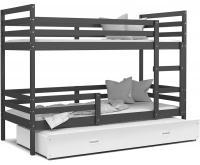 Dětská patrová postel s přistýlkou JACEK 3 190x80 cm ŠEDÁ-BÍLÁ