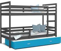 Dětská patrová postel s přistýlkou JACEK 3 190x80 cm ŠEDÁ-MODRÁ