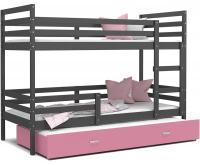Dětská patrová postel s přistýlkou JACEK 3 190x80 cm ŠEDÁ-RŮŽOVÁ